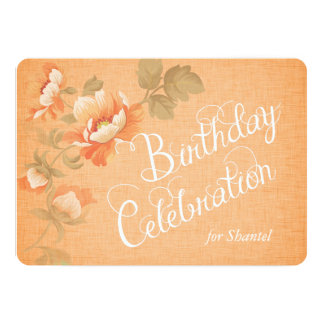 Flowers on Orange Linen Custom Birthday Invite