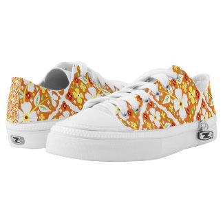 Flowers on Orange Low Tops
