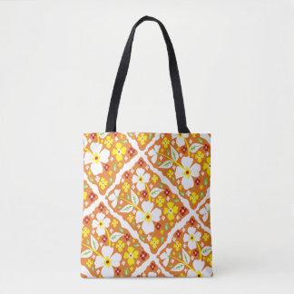 Flowers on Orange Tote Bag