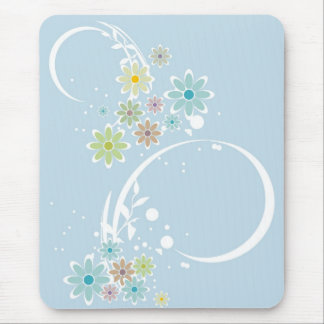 Flowers on Pale Blue - Mousepad