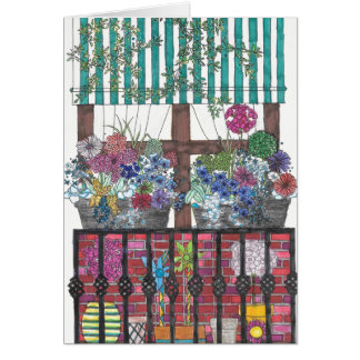 Flowers on Patio Under Awning Card