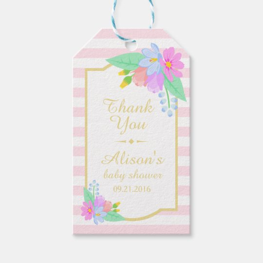 Flowers On Pink Baby Shower Thank You Gift