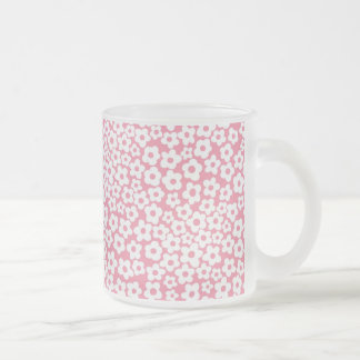 Flowers on pink coffee mugs