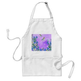 Flowers on purple with dragonflies standard apron