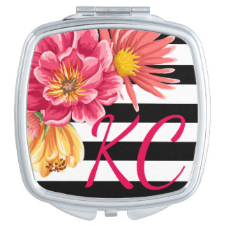 Flowers on Stripes Custom Initials Compact Mirror