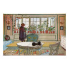 Flowers on the Window Sill by Larsson Huge Canvas  Poster