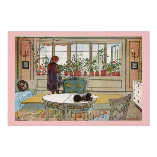 Flowers on the Window Sill Larsson Canvas Print