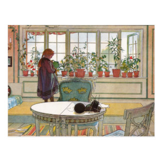 """Flowers on the Windowsill"" by Carl Larsson Art Postcard"