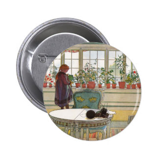 """Flowers on the Windowsill"" by Carl Larsson Pinback Button"
