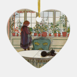 Flowers on the Windowsill by Carl Larsson Christmas Ornament