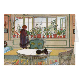 Flowers on the Windowsill by Carl Larsson Greeting Card