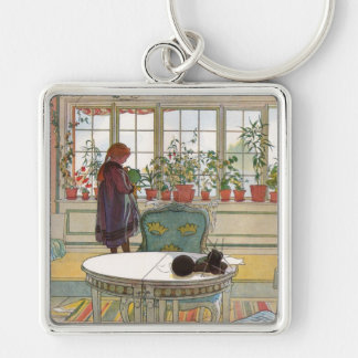 Flowers on the Windowsill by Carl Larsson Key Ring