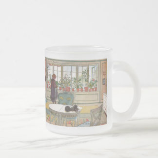 Flowers on the Windowsill by Carl Larsson Frosted Glass Mug