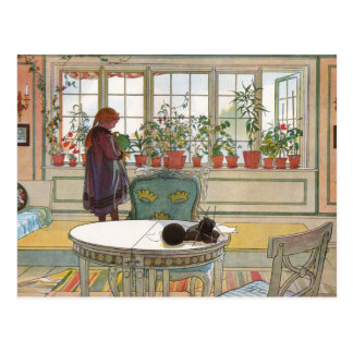 Flowers on the Windowsill by Carl Larsson Postcard