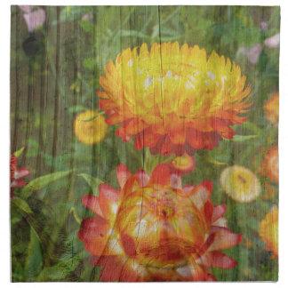 Flowers On Wood. Napkin