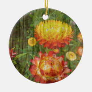 Flowers On Wood. Round Ceramic Decoration