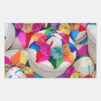 Flowers on Woven Boxes Rectangular Sticker