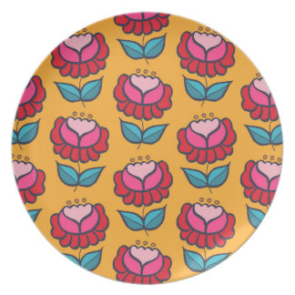 Flowers on yellow party plates