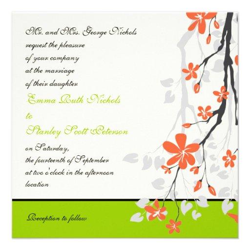 Flowers orange lime green wedding invitation