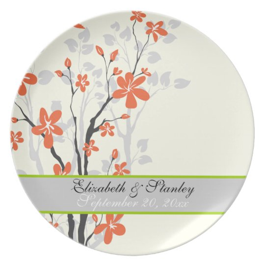 Flowers orange lime green wedding keepsake plate