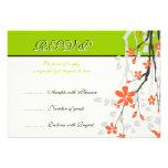 Flowers orange lime green wedding RSVP card Personalised Invitations
