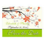 Flowers orange lime green wedding Save the Date Postcard