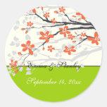 Flowers orange lime green wedding Save the Date Sticker