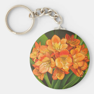 flowers oranges basic round button key ring