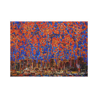 Flowers over the city New York Wrapped Canvas Canvas Print