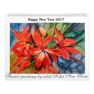 Flowers paintings happy new year calender 2017 wall calendar