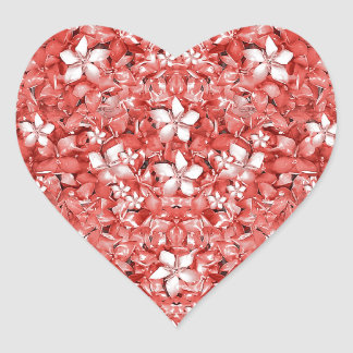 Flowers Pattern Collage in Coral an White Colors Heart Sticker