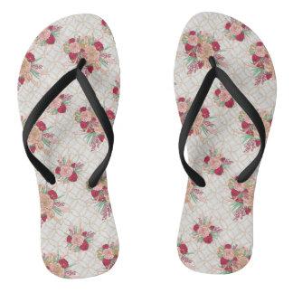 Flowers Pattern Flip Flops