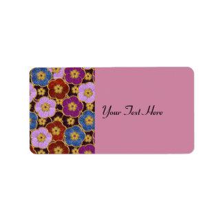 Flowers Pattern In Multi-Colors Address Label