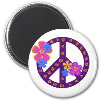 Flowers Peace Symbol Fridge Magnet