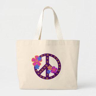 Flowers Peace Symbol Jumbo Tote Bag