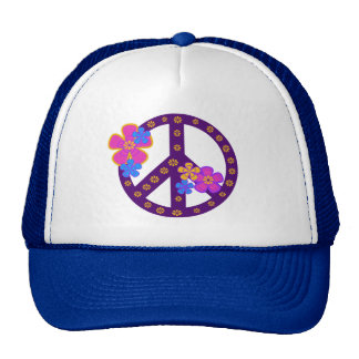 Flowers Peace Symbol T-shirts and Gifts Trucker Hat