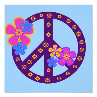 Flowers Peace Symbol T-shirts and Gifts Personalized Invite