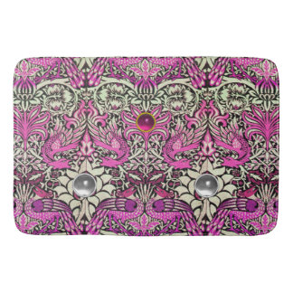 FLOWERS,PEACOCKS AND DRAGONS,PINK WHITE GEM STONES BATH MATS