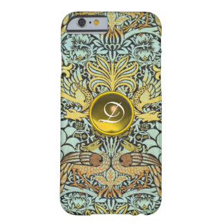 FLOWERS,PEACOCKS AND DRAGONS YELLOW GEM MONOGRAM BARELY THERE iPhone 6 CASE