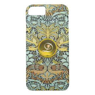 FLOWERS,PEACOCKS AND DRAGONS YELLOW GEM MONOGRAM iPhone 7 CASE