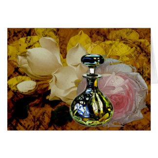 Flowers Perfume Rose Magnolia Collage Notecard Greeting Card