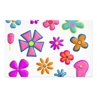 flowers personalized stationery