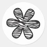 Flowers Petals Animal Print Zebra Black White Round Stickers