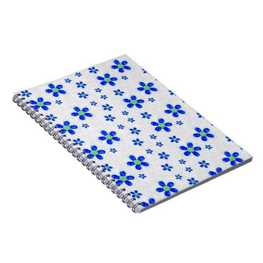 Flowers, Petals, Buttons - Green Blue White Notebook