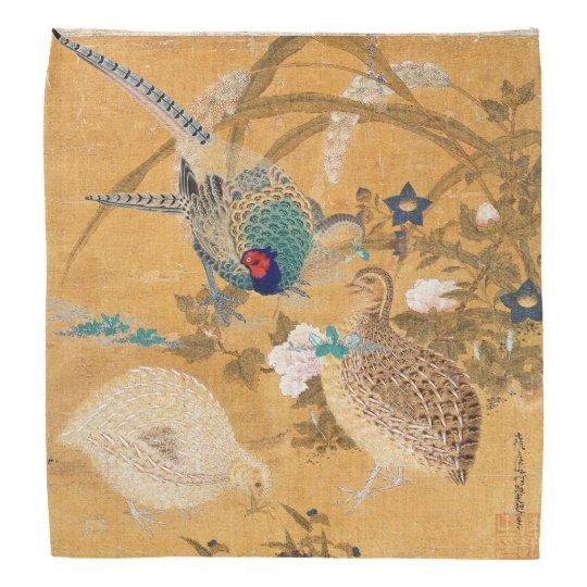 Flowers Pheasant Partridge Birds Wildlife Bandanna