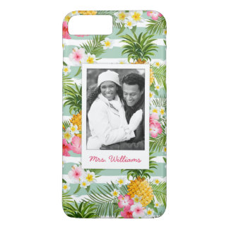 Flowers & Pineapple | Add Your Photo & Name iPhone 8 Plus/7 Plus Case