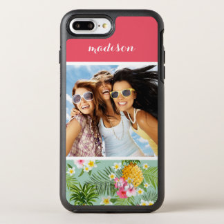 Flowers & Pineapple| Add Your Photo & Name OtterBox Symmetry iPhone 7 Plus Case