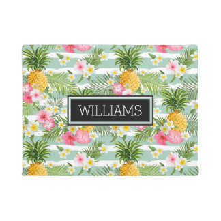 Flowers & Pineapple Teal Stripes | Add Your Name Doormat