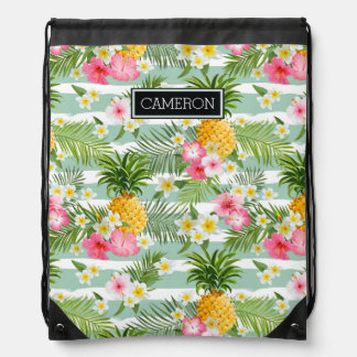 Flowers & Pineapple Teal Stripes | Add Your Name Drawstring Bag