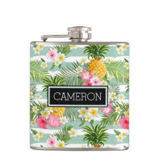 Flowers & Pineapple Teal Stripes | Add Your Name Hip Flask